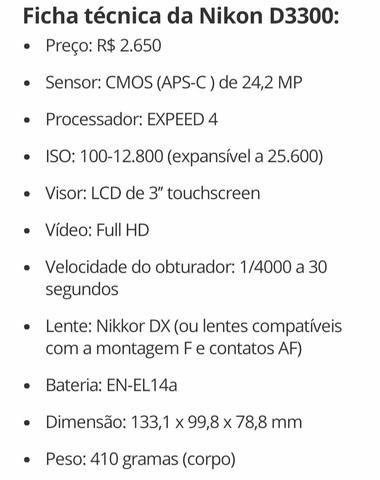 Câmera Nikon D3300 + Lente + Acessórios, troco por iphone 8 - Foto 6