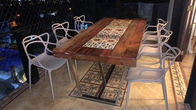 Mesa de jantar 2,40x1,00 rustica em madeira de demolição e ladrilho hidráulico. - Foto 5