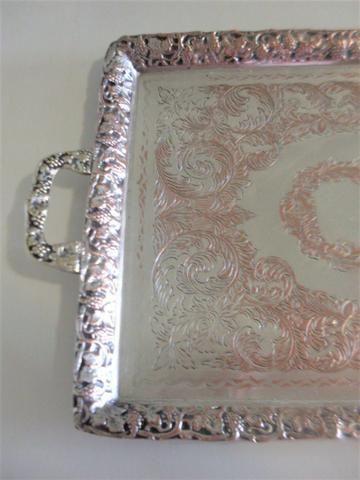 Bandeja prata 90 cinzelada trabalhada antiga - antique - leia - Foto 3