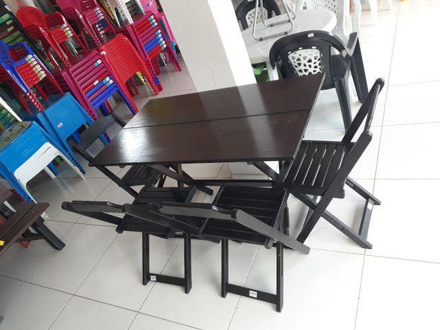 Mesa e cadeira dobrável de madeira direto de fábrica