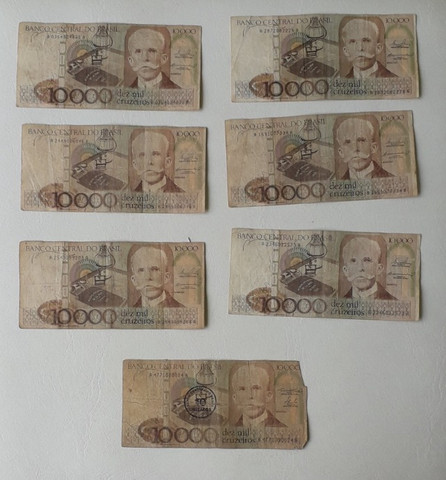 7 notas de 10000 cruzeiros antigas