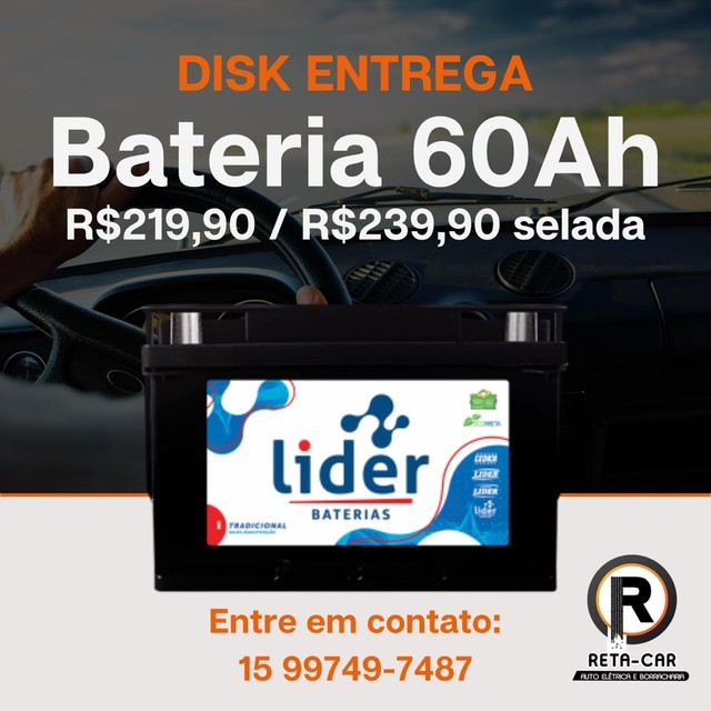 Baterias Líder 60ah   Disk Entrega Sorocaba e Votorantim .?