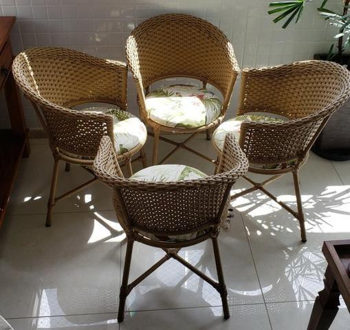 Conjunto cadeiras de varanda em vime