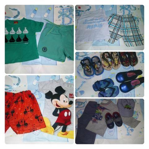 Roupinhas e sandálias e tênis de menino de 4 a 6 meses verão