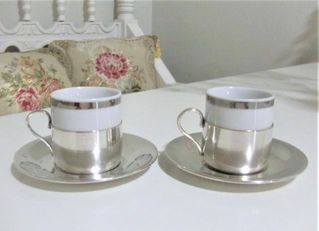 Par de xícaras de porcelana e banho de prata antigas- antique - leia - Foto 2