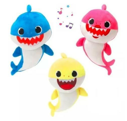 3 Baby Shark Pelucia Musical Bebê Tubarão Crianças Animais