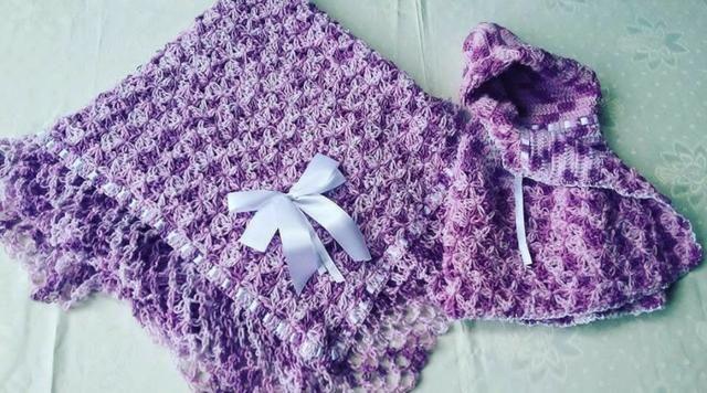 Xale e casaquinho para Bebê Diversas cores - produto artesanal. (Peça única nova) - Foto 5