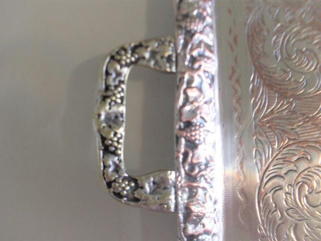 Bandeja prata 90 cinzelada trabalhada antiga - antique - leia - Foto 6
