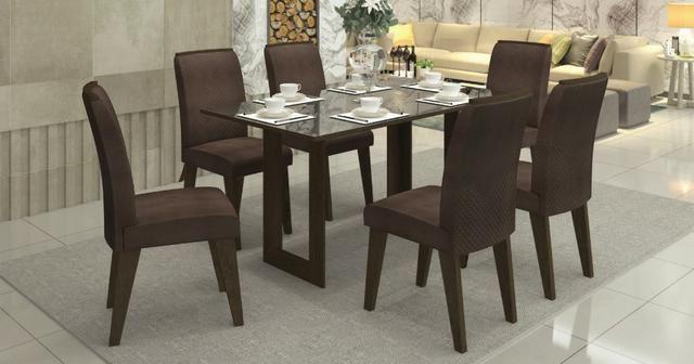Conjunto Sala De Jantar Mesa Tampo De Vidro 6 Cadeiras Ravena Siena