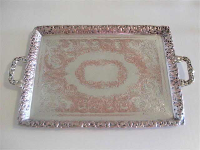 Bandeja prata 90 cinzelada trabalhada antiga - antique - leia