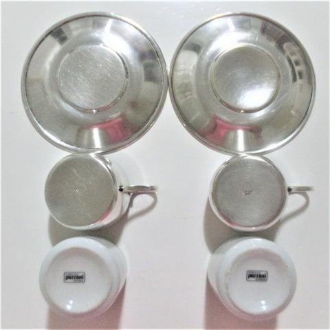 Par de xícaras de porcelana e banho de prata antigas- antique - leia - Foto 5