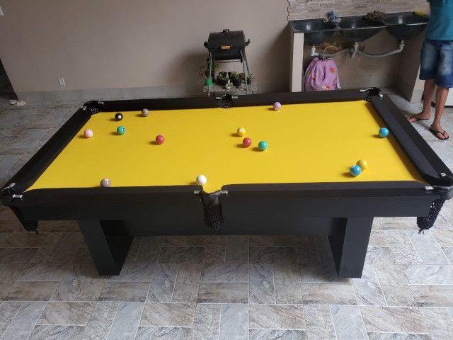 Mesa Encanto de Bilhar Cor Preta Tecido Amarelo Mod. RGGB7159 - Foto 2