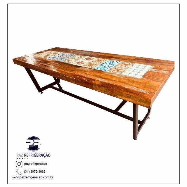 Mesa de jantar 2,40x1,00 rustica em madeira de demolição e ladrilho hidráulico. - Foto 3