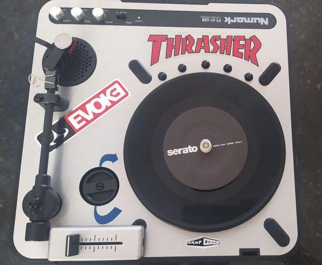 Toca disco dj Scratch numark pt01 +mix fader+time code serato+bihare platter