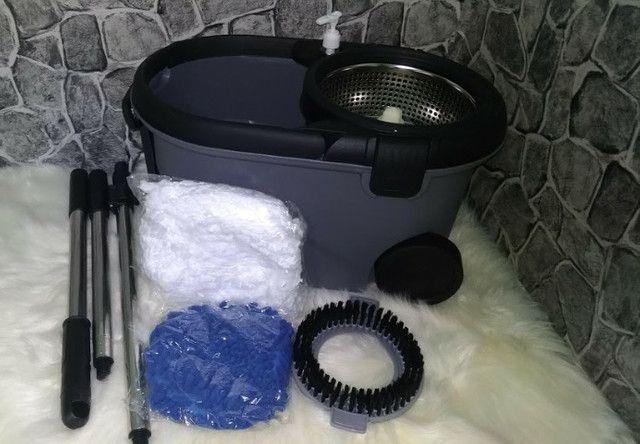 Mop Top Premium Balde 16L Centrifuga Inox Cabo 1,60m reforçado 3 tipos de refis - Foto 3