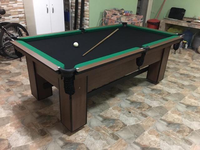 Mesa de Bilhar Tecido Preto Bordas Verdes Modelo VVT2147 - Foto 5