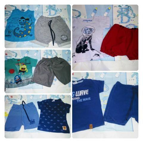 Roupinhas e sandálias e tênis de menino de 4 a 6 meses verão - Foto 2