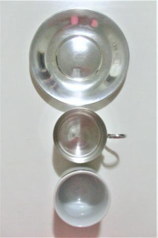 Par de xícaras de porcelana e banho de prata antigas- antique - leia - Foto 4