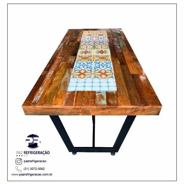 Mesa de jantar 2,40x1,00 rustica em madeira de demolição e ladrilho hidráulico. - Foto 4