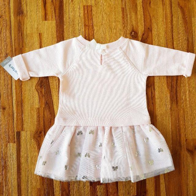 Vestido Carter's rosa claro _manga comprida - Foto 4