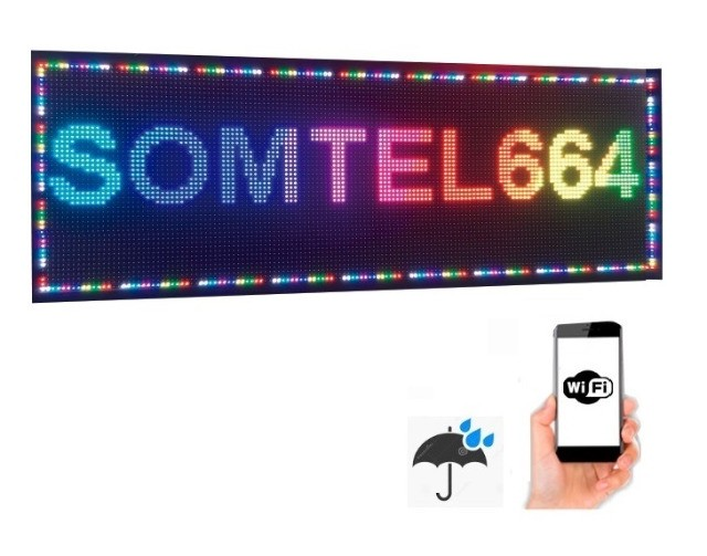 Painel Led RGB 200x40 P13 Outdoor c/ Wi-FI