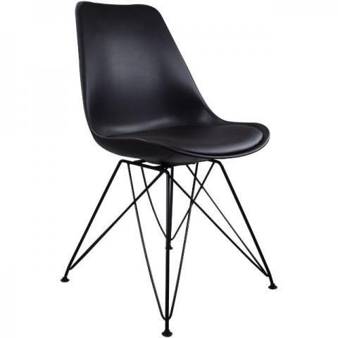 Cadeira Charles Eames Eiffel Preta Metal Pelegrin Pw-075