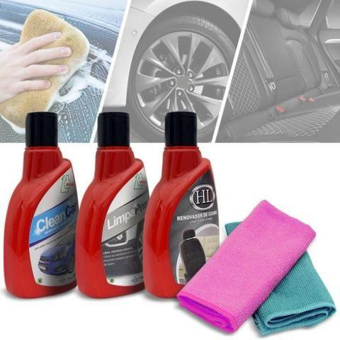 Kit Limpeza Automotiva Clean Car Detergente com Cera,Renovador de Couro,Limpa Pneu