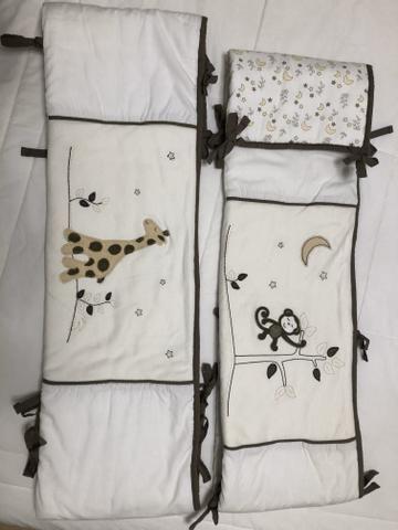 Kit berço com laterais+saia+lençol+porta fraldas+edredom+almofada de amamentação - Foto 5