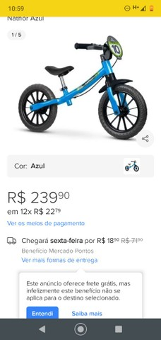 Bicicleta sem pedal Nova!