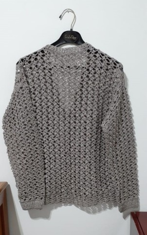 Blusa Feminina Elegante em Crochê Tamanho G - Modelo: Decote V - Foto 2