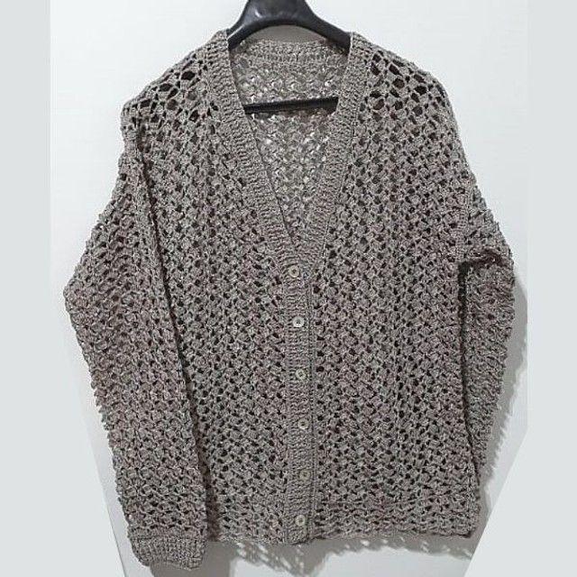 Blusa Feminina Elegante em Crochê Tamanho G - Modelo: Decote V