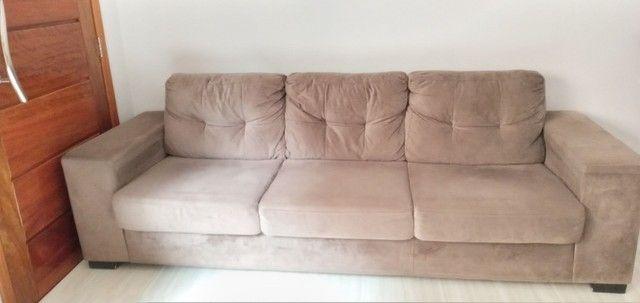 Sofá tecido suede aveludado 2,60 m