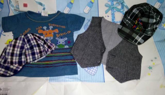 Roupinhas e sandálias e tênis de menino de 4 a 6 meses verão - Foto 5