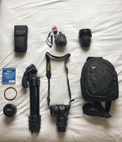 Câmera Nikon D5200 + Lente 50 mm + Lente 10-20mm