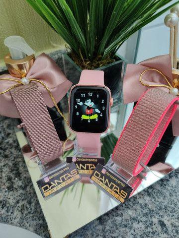 2 Smartwatch 1 preto 1 rose + brinde surpresa - Foto 2