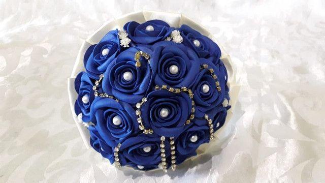 Buquê Azul Royal Para Casamento Civil  - Foto 2