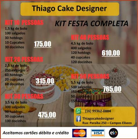 Kit festa bolos doces salgadinhos mini cachorro quente cupcake - Foto 2