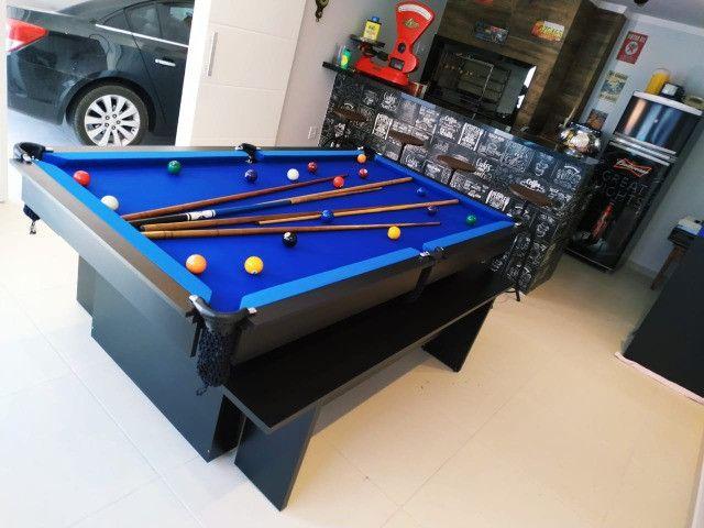 Mesa de Bilhar Encanto Preta Tx Tecido Azul Modelo KFJ4587 - Foto 4