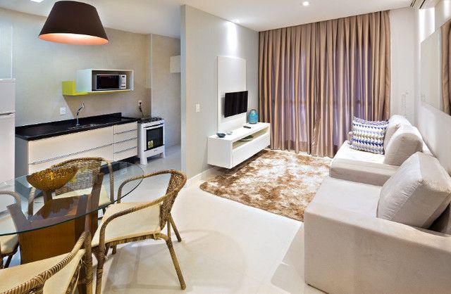 Apartamento Flat no Guarujá, 55m2 , Varanda Gourmet, Mobiliado!