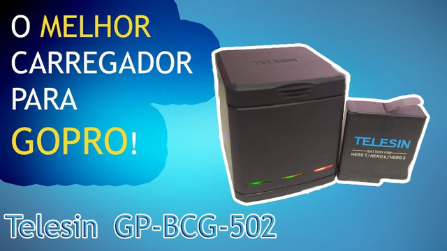 Carregador GoPro Hero 5 6 7 8 Black - Carregador Triplo