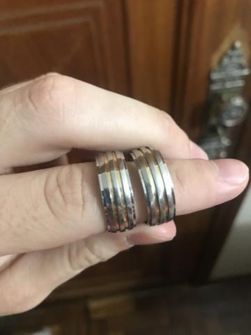 Aliança de prata com fios de ouro - Foto 6