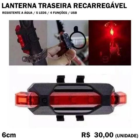 Lanterna Traseira Recarregável USB