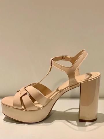 Sandália bege nude, salto groso - City Shoes - Foto 4