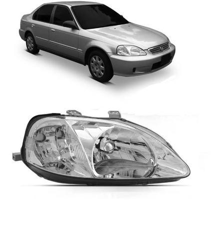 Farol Cromado Honda Civic 1999 2000 Direito