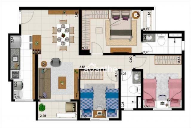 Apartamento com 3 dormitórios à venda, 74 m² por R$ 317.000 - Santa Isabel Zona Leste - Te - Foto 12