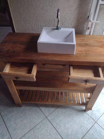 Gabinete rústico pra banheiro  - Foto 3