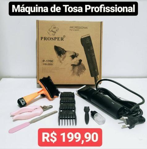 Máquina de Tosa Pet Profissional Bivolt Kit 10 Peças