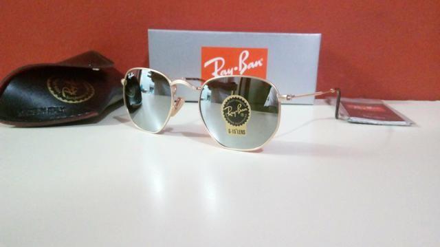 Óculos Ray Ban Hexagonal Espelhado Unissex Novo Frete grátis - Foto 4