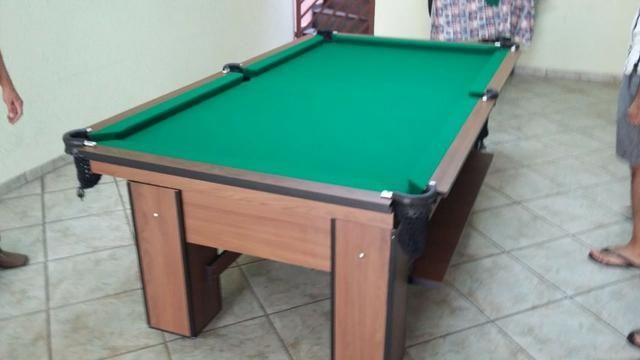 Mesa Charme Frete Grátis Cor Imbuia Tecido Verde Mod. BEGQ1387 - Foto 2