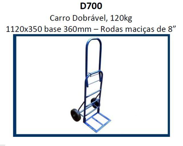 Carrinho de Carga Armazém Dobrável 120kg 1120x350 base 360mm D700 - Foto 3